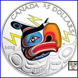 2018'Thunderbird' Ultra High Relief Color Prf $25 Fine Silver 1oz. Coin(18434)