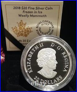 2018 Woolly Mammoth Frozen in Ice $20 1OZ Pure Silver Proof Coloured Coin Canada