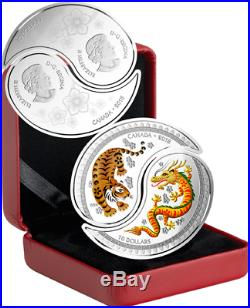 2018 Yin Yang Tiger Dragon $20 (2x$10 Coins) 1OZ Silver Proof Split Coin Canada