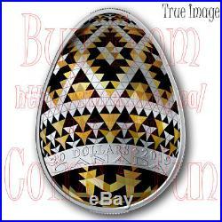 2019Vegreville Ukrainian Pysanka $20 Silver Easter Egg Shaped Coin
