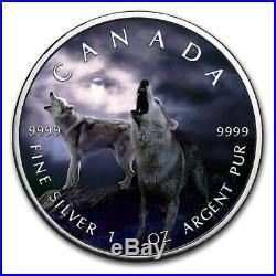 2019 1 Oz Silver $5 Canadian Wildlife GREY WOLF MAPLE LEAF Coin