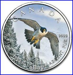 2019 1 Oz Silver $5 Canadian Wildlife PEREGRINE FALCON MAPLE LEAF Coin