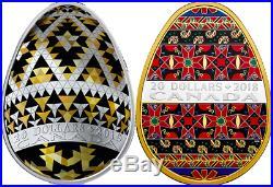 2019 & 2018 Ukrainian Pysanka Pair $20 1OZ Egg-Shaped Pure Silver Proof 2-Coins