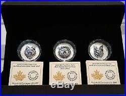 2019-2020 Wolf Bear Lynx Multifaceted Animal Head $25 1OZ Silver Canada 3-Coins