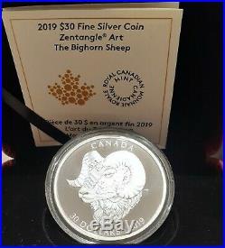 2019 Bighorn Sheep Zentangle Art $30 2OZ 62.69gram Pure Silver Proof Coin Canada