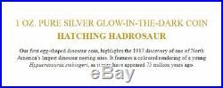 2019 Canada 1 Oz. Pure Silver Glow-in-the-dark Coin Hatching Hadrosaur Dinosaur