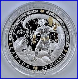 2019 Canada $20 Norse Gods Thor 1 oz Silver Gold Plate Coin Mint Packaging Proof