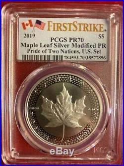 2019 Canada Modified PF Silver Maple Leaf PCGS PR70 FS Pride Of Two Nations