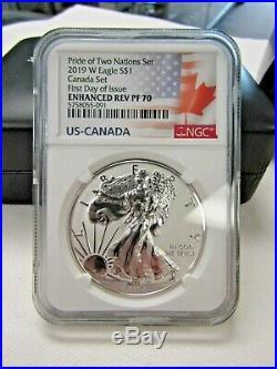 2019 Canada & U. S. L. E. Pride Of Two Nations Set Silver Eagle & Maple Leaf Pf70