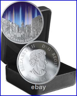 2019 Light Pillars Sky Wonders $20 1OZ Pure Silver Proof Coin Canada Glow-Dark