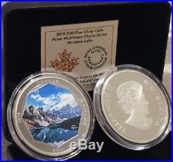 2019 Moraine Lake $30 2OZ Pure Silver Proof Coin Canada Peter McKinnon Photo