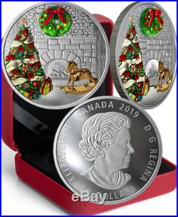 2019 Murano Holiday Wreath Magic $20 1OZ Pure Silver Proof Coloured Coin Canada