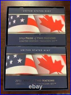 2019 Pride of Two Nations Limited Edition Silver Proof 2 Coin Set (US & Canada)
