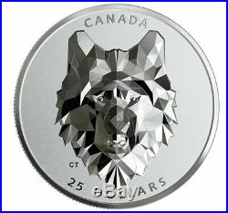 2019 WOLF multifaceted animal head 1 oz pure silver coin $25 #1 of 3 Only 2500