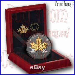2020 Black&Gold Maple Leaves in Motion $50 Pure Silver Gold/Rhodium-Plated Coin