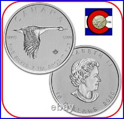 2020 Canada $10 2 oz 0.9999 Silver Canadian Goose Coin in direct fit capsule