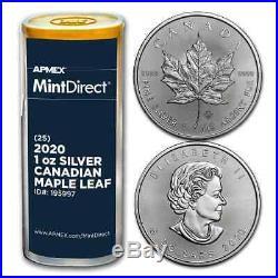 2020 Canada 1 oz Silver Maple Leaf (25-Coin MintDirect Tube) SKU#195997