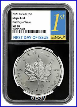 2020 Canada 1 oz Silver Maple Leaf $5 Coin NGC MS70 FDI Black Core SKU60007