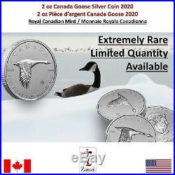 2020 Canada Canadian Goose 2 oz Silver $10 Coin GEM BU Coin