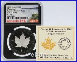 2020 Canada Maple Leaf Incuse NGC PF 70 Black Rhodium 1 oz Silver $20 Coin JJ305