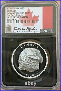 2020 Canada Proud Bald Eagle PF70 FDOI Extraordinary High Relief 1oz Silver COA
