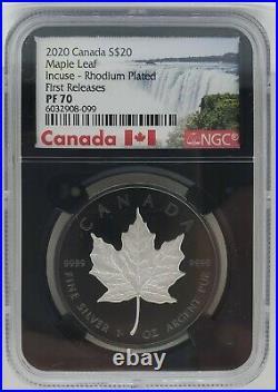 2020 Canada Silver Maple Leaf Black Rhodium Incused 1 oz NGC PF70 FR $20 Coin