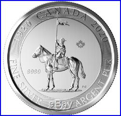 2020 Mounted Police Canada 100th Anniversary 2 oz Silver New Coin in a caps unc
