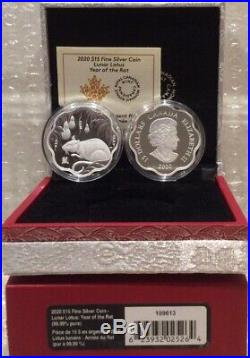 2020 Rat Lunar Lotus Year of the Rat $15 Pure Silver Proof Canada Coin Vision