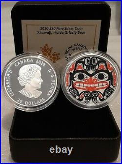 2020 Xhuwaji Haida Grizzly Bear $20 1OZ Pure Silver Proof Coin Canada, Bill Reid