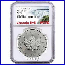2021 $5 Canadian Silver Maple Leaf 1oz NGC MS70 Canada Label