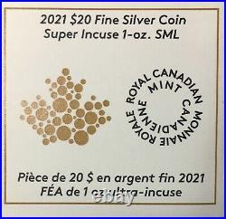 2021 CANADA $20 MAPLE LEAF SILVER 1 Oz SUPER INCUSE NGC REVERSE PROOF 70 FDI
