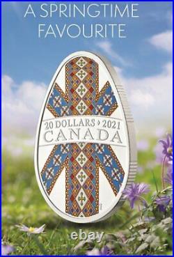 2021 CANADA $20 PYSANKA Ukrainian Tradition 1oz Pure Silver Egg Shaped Coin