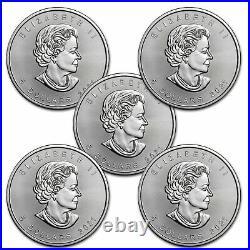 2021 Canada 1 oz Silver Maple Leaf BU Lot of 5 Coins. 9999 Fine Silver
