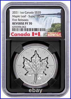2021 Canada 1 oz Silver Maple Leaf Super Incuse Reverse $20 Coin NGC PF70 FR BC