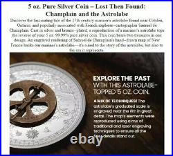 2021 Canada 5 oz Pure Silver Coin Lost Then Found Champlain and the Astrolabe