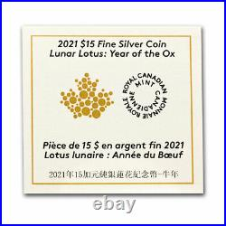 2021 Canada Silver $15 Lunar Lotus Year of the Ox Proof SKU#218951