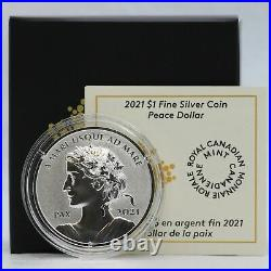 2021 Canada Silver Peace Dollar 1 oz Proof Ultra High Relief Coin JJ481