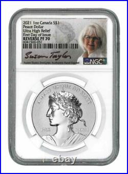 2021 Canadian Peace Dollar NGC Reverse PF70 UHR FDI Silver PRE-SALE Signed Coin