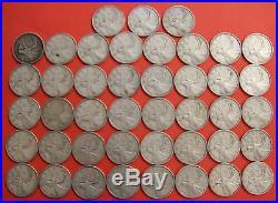40 x 1948 Silver 25 Cent Quarter Coins Canada Semi Key Date