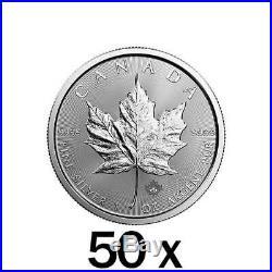 50 x 1 oz Silver Maple Leaf Coin RCM Random Year Royal Canadian Mint