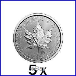 5 x 1 oz Silver Maple Leaf Coin Royal Canadian Mint