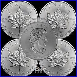 5 x 2018 Canadian 1 oz maple leaf 999.9 Silver Bullion Coin