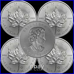 5 x Canadian 1 oz maple leaf 999.9 Silver Bullion Coin. Various years