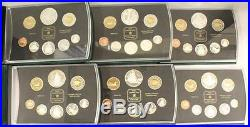 6x Royal Canadian Mint Canada Silver Double Dollar Proof Coin Sets 1998 to 2003