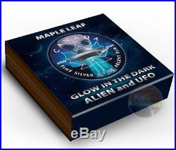 ALIEN & UFO GLOW IN THE DARK Maple Leaf 1 oz silver Ruthenium Coin 2018