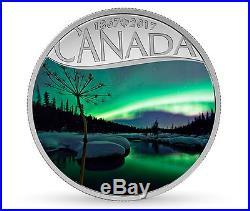 Aurora Borealis at McIntyre Creek 2017 Pure Silver $10 1/2OZ Coin Canada's 150th