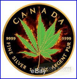 BURNING MARIJUANA HYBRID 2017 1 oz Silver Maple Leaf Coin Ruthenium and 24K Gold
