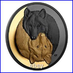 Black and Gold The Grey Wolf 1oz Pure Silver Coin, Royal Canadian Mint PRE-SALE
