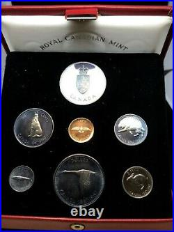 CANADA 1967 PROOF SET OF (6) BLUE TONING COINS AND ONE SILVER MEDAL in Red Box