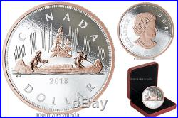 CANADA $1 5 oz. Silver Rose Gold Plating Big Coin Series Voyageur Dollar 2018